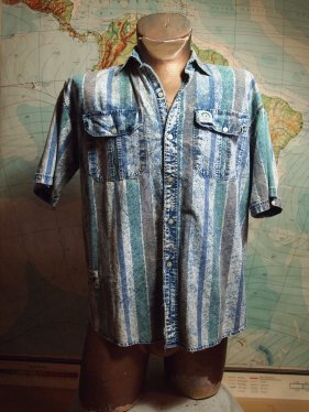 The Eye of Faith Vintae Blog Shop- Mens 1980s BOSSINI acid wash graphic stripe leisure shirt