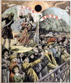^BFrench solar eclipses of 1724 and 1912.^b Historical artwork of people watching the total solar eclipse of 22 May 1724 (upper left) and the annular solar eclipse of 17 April 1912 (lower right). Both eclipses were visible from Paris, France. In both cases, the observers are using darkened glass with which to view the eclipse. A solar eclipse occurs when the Moon passes in front of the Sun, as seen from the Earth. When the Moon is slightly further from the Earth than normal, an annular eclipse takes place. Total solar eclipses usually occur less than once a year, and can only be seen from a small area of the Earth's surface. Centuries can pass before another total solar eclipse is visible from the same location. Artwork published in 1912, in the Parisian daily newspaper ^ILe Petit Journal^i.